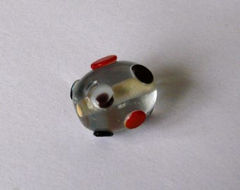 Lampwork bead in black and Red transparent glass