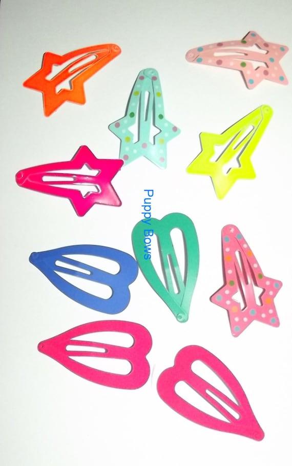 Puppy Bows ~14 Barrette snap clip  BIG DOG sample set boys or girls FREE bands! ~Usa seller