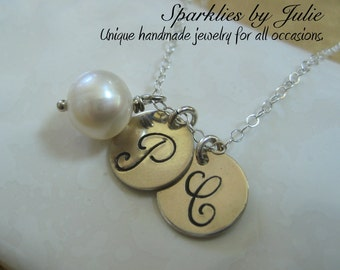 Two Initials & Birthstone Necklace - Hand stamped charms, Custom birthstone, Sterling silver, Mother, Best Friends, Husband Wife, Sisters