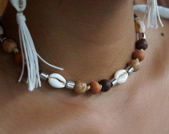 Wood, Shell Choker Necklace, Macrame Necklace, Boho Choker, Womens and Mens Necklace, Surfer Necklace