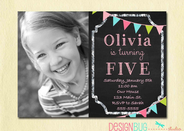 Birthday girl invitation custom chalkboard bunting photo zoom stopboris Choice Image