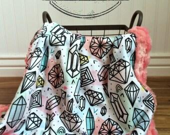 Baby Blanket - Diamond Designer Minky - Coral