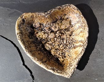 CANDY DISH: Wood Fired Pottery Textured Heart Shaped Stoneware Bowl Tray Candy Dish Hand Made with Crochet Pattern and Shino Glaze