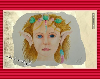 Elf Art Print portrait drawing poster