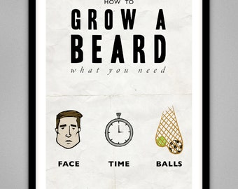 How To Grow A Beard - Signed Limited Edition Giclee Beard Poster Print A4 & A3