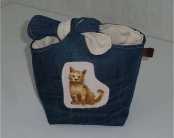 """Pouch tied recycled denim, """"night all cats are grey"""", plain ecru cotton inside"""