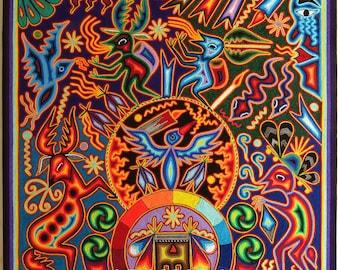 "23.5"" Huichol painting, Mexican decor, Huichol art, Mexican wall art, Native art, Mexican folk art, Mexican art, Mexican painting, 60-118"
