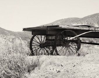 Wagon Wheels Photography CA High Desert Photos Old West Wall Art Neutral Home Decor Rustic Antique Sepia print Black & White Gift for him