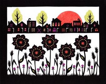 Community Garden - 8 x 10 inch Cut Paper Art Print