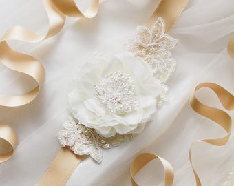 Bridal Sash Belt Wedding Sash Belt Floral Sash Belt - Wedding Dress Sash Belts- Ivory Flower Lace Belt Brige Ribbon Belt Rustic Bridal