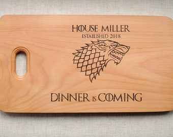 Game Of Thrones Cutting Board Kitchen Chopping Board Dinner Is Coming  Wooden Cutting Board GOT Birthday