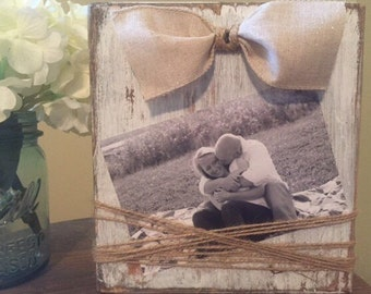 Farmhouse Picture Frame, Rustic Picture Frame, Wood Block Frame, Picture Frame, Rustic Wedding table number,  Farmhouse decor, Rustic decor