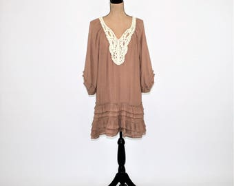 Hippie Dress Peasant Dress Boho Dress Mini Loose Fitting Romantic Lace Brown Mocha Also AVAILABLE in PLUS SIZE Womens Clothing Vintage Style