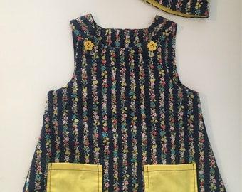 Handmade baby girls pinafore dress with matching hat