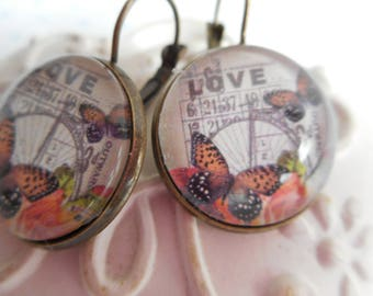 "Earrings cabochon glass 20 mm ""love bingo"" bronze, butterflies, orange, Brown, optional gift box"