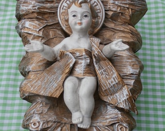 Vintage Baby Jesus Nativity Scene Figure Large Paper Mache or Similar Material Made in Japan Figurine Christmas Decor
