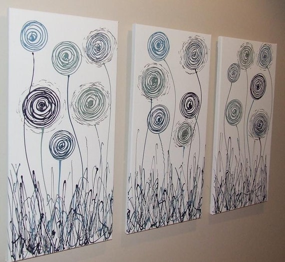 Items Similar To Teal Purple Abstract Flowers Wall Decor: Items Similar To Teal Blue Navy Silver White Abstract