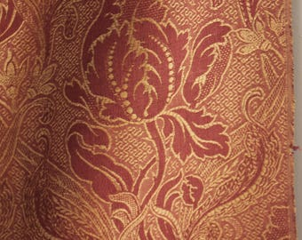 Antique French autumnal curtain 1880 Turkey red backing fabric muted tones