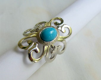 Sarah Coventry Adjustable Faux Turquoise and Silver Ring