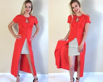 vtg 70s PERSIMMON RED empire waist DUSTER xs/Small disco dolly skinny fitted kimono blouse cut out neck tie retro