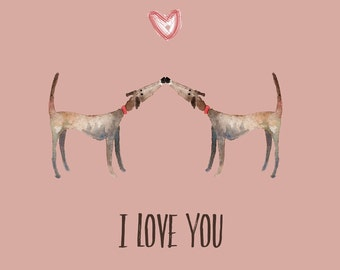 Dog valentines card, Valentines day card, Dog love card, I love you card, Made by Harriet, Greyhound valentines card, I love you, Dog card,