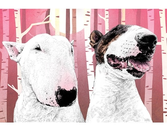 Melody and Riff - Bull Terrier Art Print