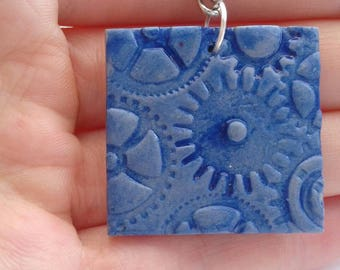 Cog printed charm necklace