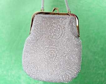 TWISTED SISTA Vintage Beaded White Evening Bag