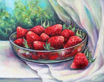 Summer Flavour Strawberries Original Oil Painting on Canvas