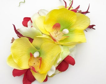 Handmade Yellow Orchid & White Blossom Tropical Hair Flower Clip