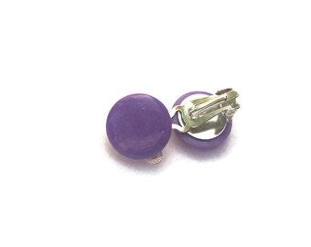 Purple Button Clip on Earrings Shiny Grape Button Stud Clip-on Earrings