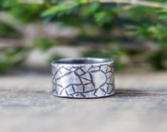 Men's Silver Ring -10mm Band - Rustic Men's Ring - Unique Men's ring - Personalized Jewelry for Men - Sterling Silver Ring - Nature Inspired