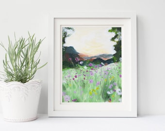 Wildflowers mountain landscape print | landscape painting | mountain landscape | wildflower painting | impressionist painting