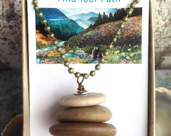 Earthy Rock Cairn Necklace - Find Your Way - Guy Gift - Unisex