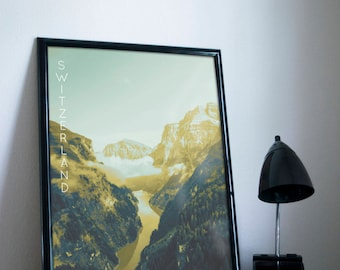 Swiss Alps Graphic Poster 11x17 18x24 24x36