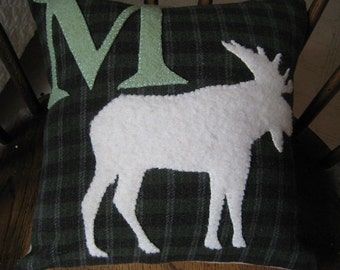Hand Stitched Moose Silhouette wool pillow