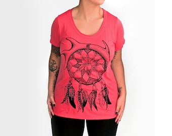 S,M,L Coral Pink SUPER SOFT Scoop Neck Tee with Dream Catcher Design - S,M,L