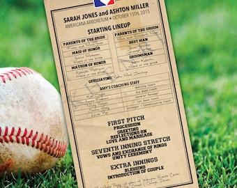 Baseball Lineup Wedding Program - printable - digital file
