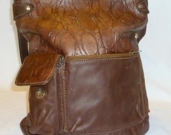 Brown large Leather bag, Zipper Shoulder Bag, Leather Brown Tote, Leather Tote Bag, Leather Diaper Bag, Leather Bag, hand Bag