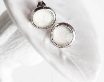 Pastel Stud earrings, Green Blue, Stud Earrings, Pastel Earrings, Bees and Buttercups, Nude earrings, Flesh color Earrings, Neutral Jewelry
