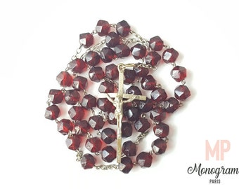Antique Red Glass Rosary 1930's