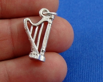 Harp Charm - Silver Plated Musical Harp Charm for Necklace or Bracelet