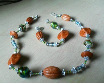 set (necklace and bracelet) summer, modern, chic (Brown, blue and green)
