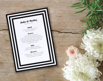 Art Deco Wedding Menu Simple Black and White Romantic Party