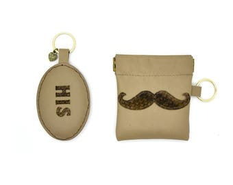 Mustache Leather Squeeze Carrying Case and Mustache Keychain set. Coin Purse. Key chain. Gifts for Him. Customized gifts.