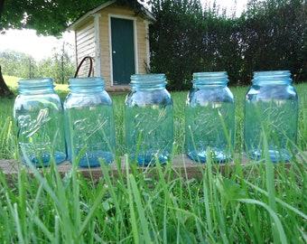 blue Mason Jar vase, 5 Aqua Blue Ball Mason Jars, rustic Wedding Tabletop, vintage blue jars, Aqua Blue Glass,