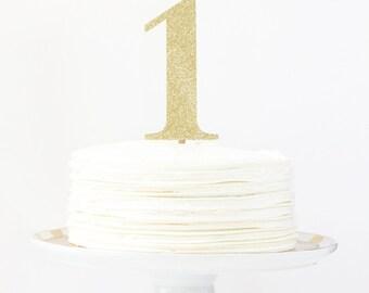 1st Birthday Cake Topper Gold Glitter Number Name Cake Topper