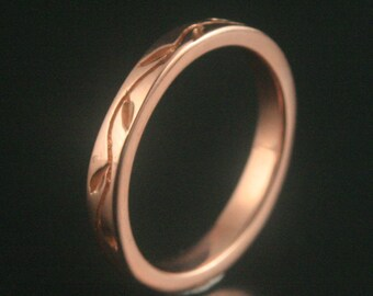 14K Rose Gold Band--Thymes Ring--Women's Wedding Ring--Vine Ring--Leaf Ring--Nature and Jewelry--Comfort Fit Band-Thick Band-Nature Inspired
