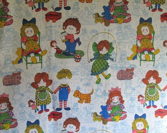 Vintage 1960s Kitsch Fabric Dolls and Kids at Play 1.5 yards