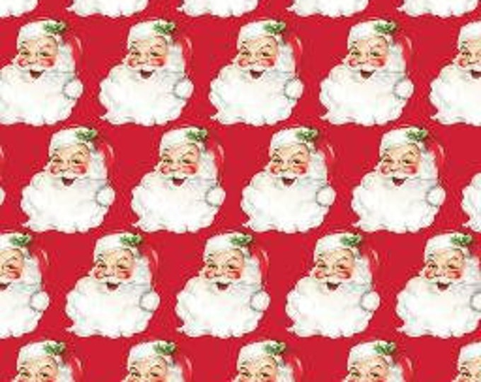 "22.5"" Remnant SAINT NICK Christmas Kitsch Red 100% Cotton Quilt Fabric - by Anna Griffin"